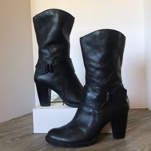 Born Leather Mid Calf Boots